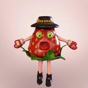 草莓浆果字符 3d model