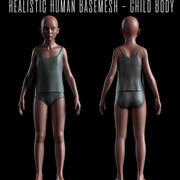 Gerçekçi Basemesh - Çocuk Gövdesi -UVMapped - Rigged 3d model