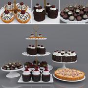 체리 초콜릿 케이크와 디저트 3d model