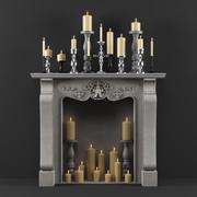 Dark Decor Fireplace 3d model