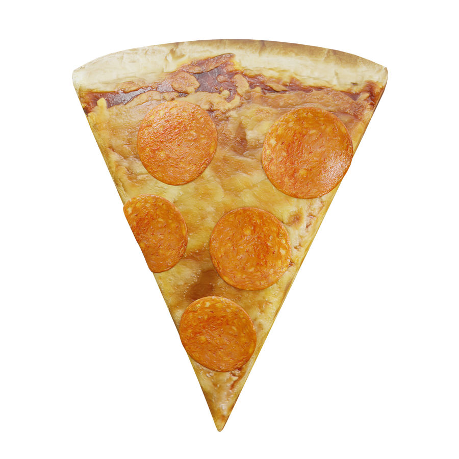 Slice of Pepperoni Pizza royalty-free 3d model - Preview no. 1