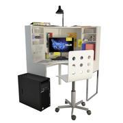 Bureau et fournitures de bureau pour adolescents 3d model