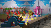 Entertainment center for kids - interior and props 3d model