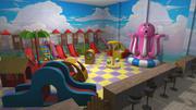 Centro de entretenimiento para niños - interior y utilería modelo 3d