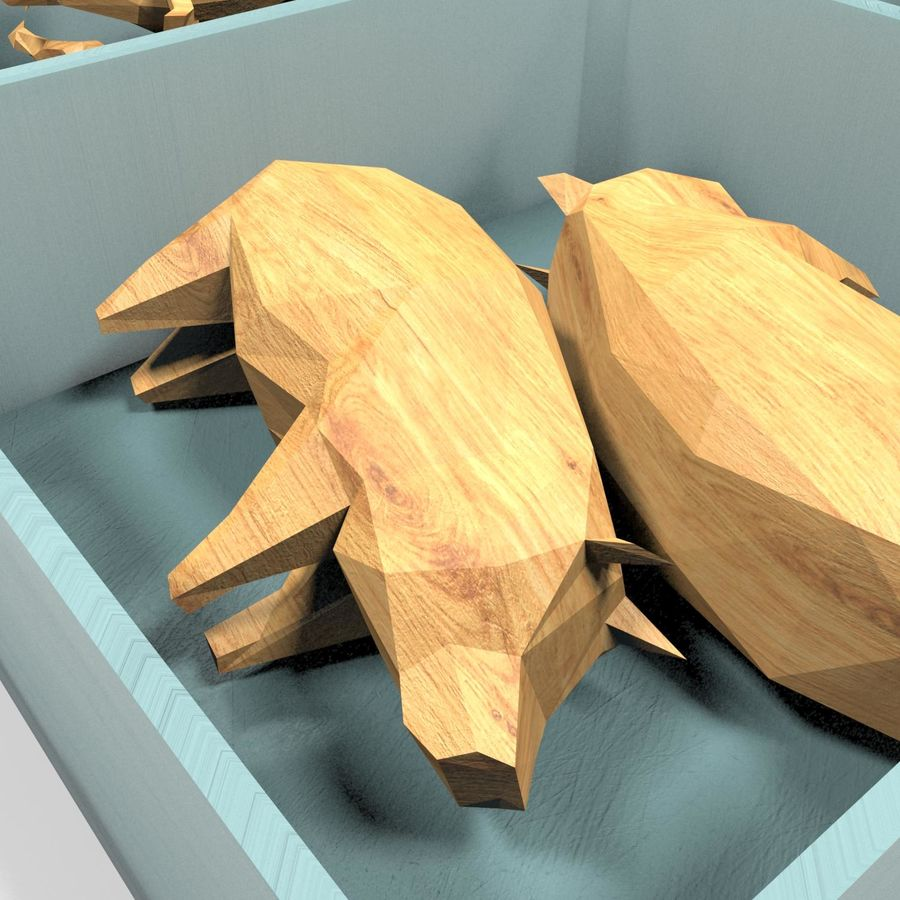 Scatola Con Giocattoli Di Animali In Legno royalty-free 3d model - Preview no. 5