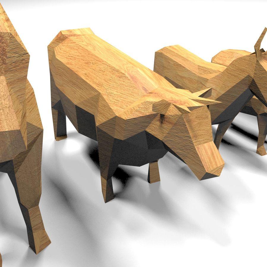 Scatola Con Giocattoli Di Animali In Legno royalty-free 3d model - Preview no. 16