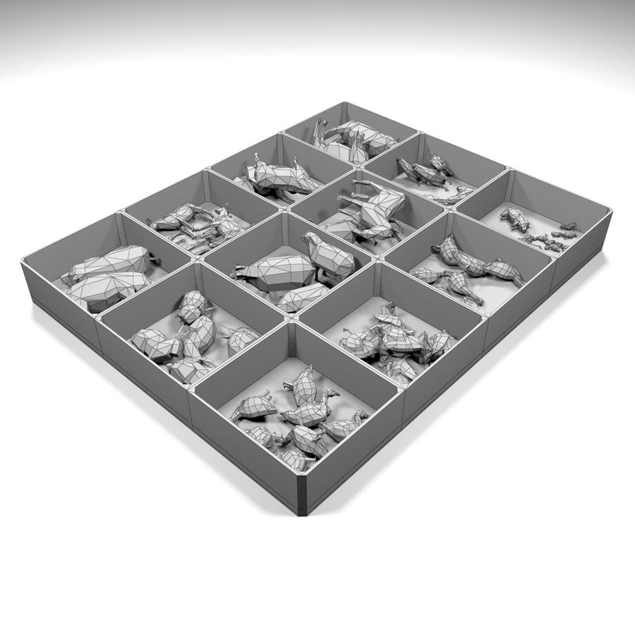 Scatola Con Giocattoli Di Animali In Legno royalty-free 3d model - Preview no. 11