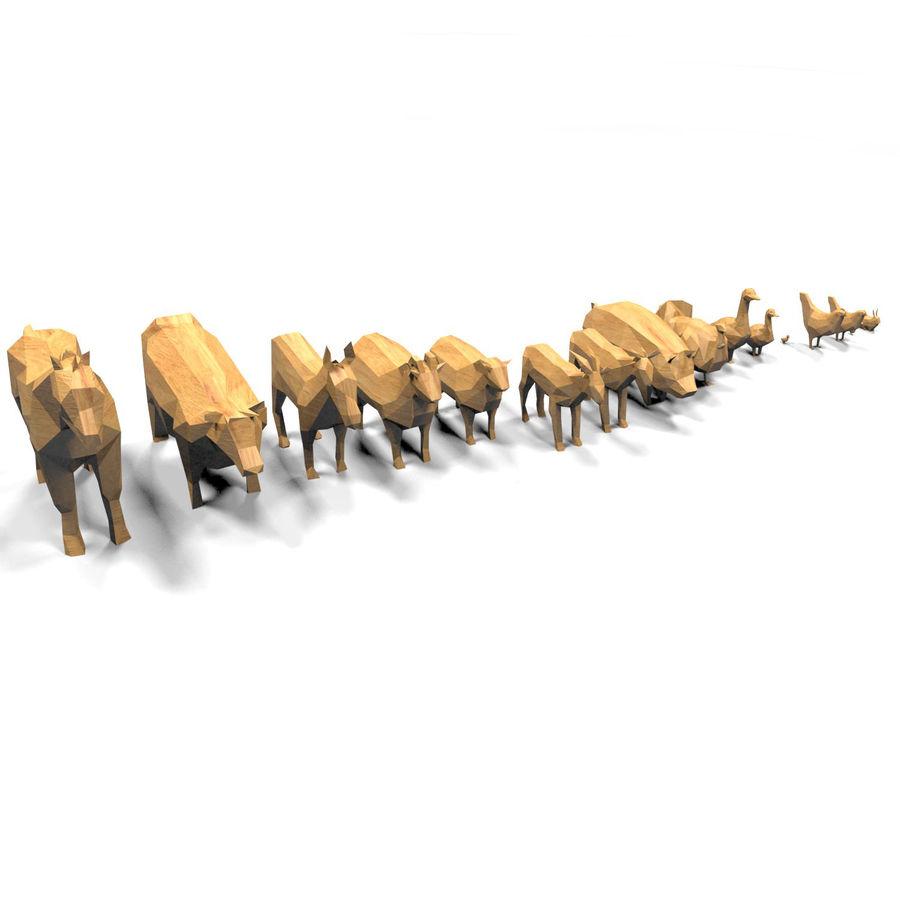 Scatola Con Giocattoli Di Animali In Legno royalty-free 3d model - Preview no. 25