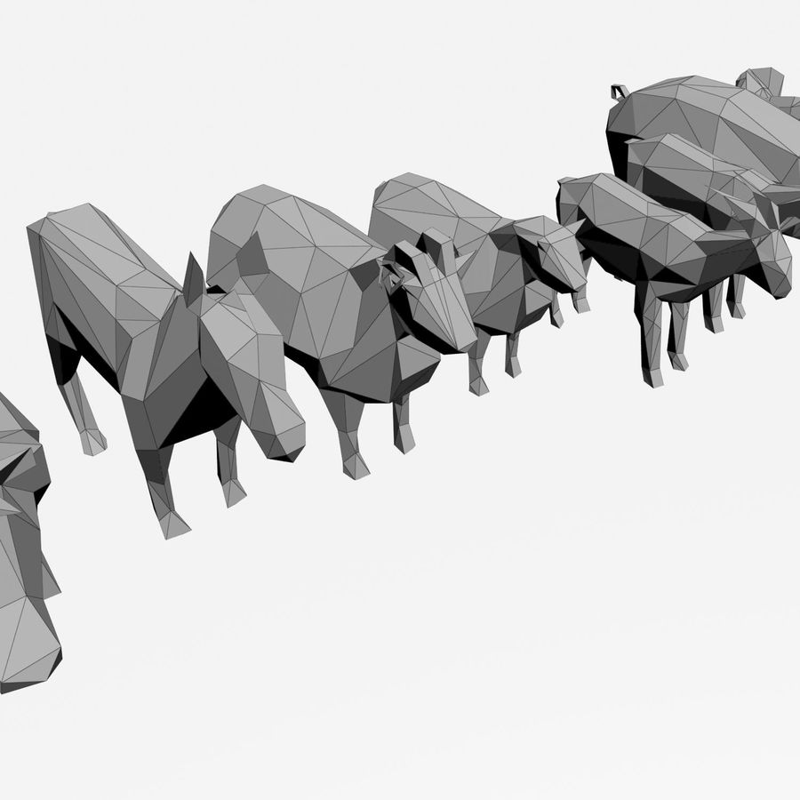 Scatola Con Giocattoli Di Animali In Legno royalty-free 3d model - Preview no. 28