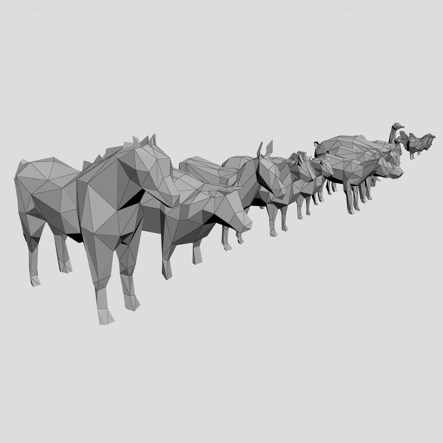 Scatola Con Giocattoli Di Animali In Legno royalty-free 3d model - Preview no. 26