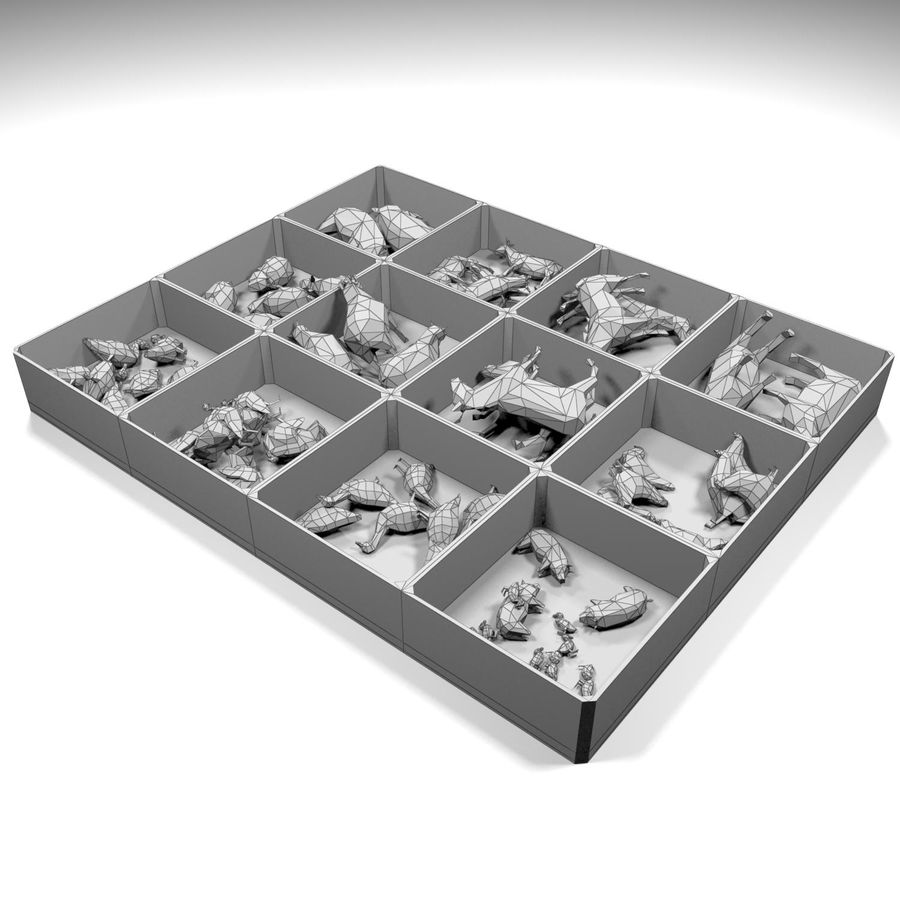 Scatola Con Giocattoli Di Animali In Legno royalty-free 3d model - Preview no. 12