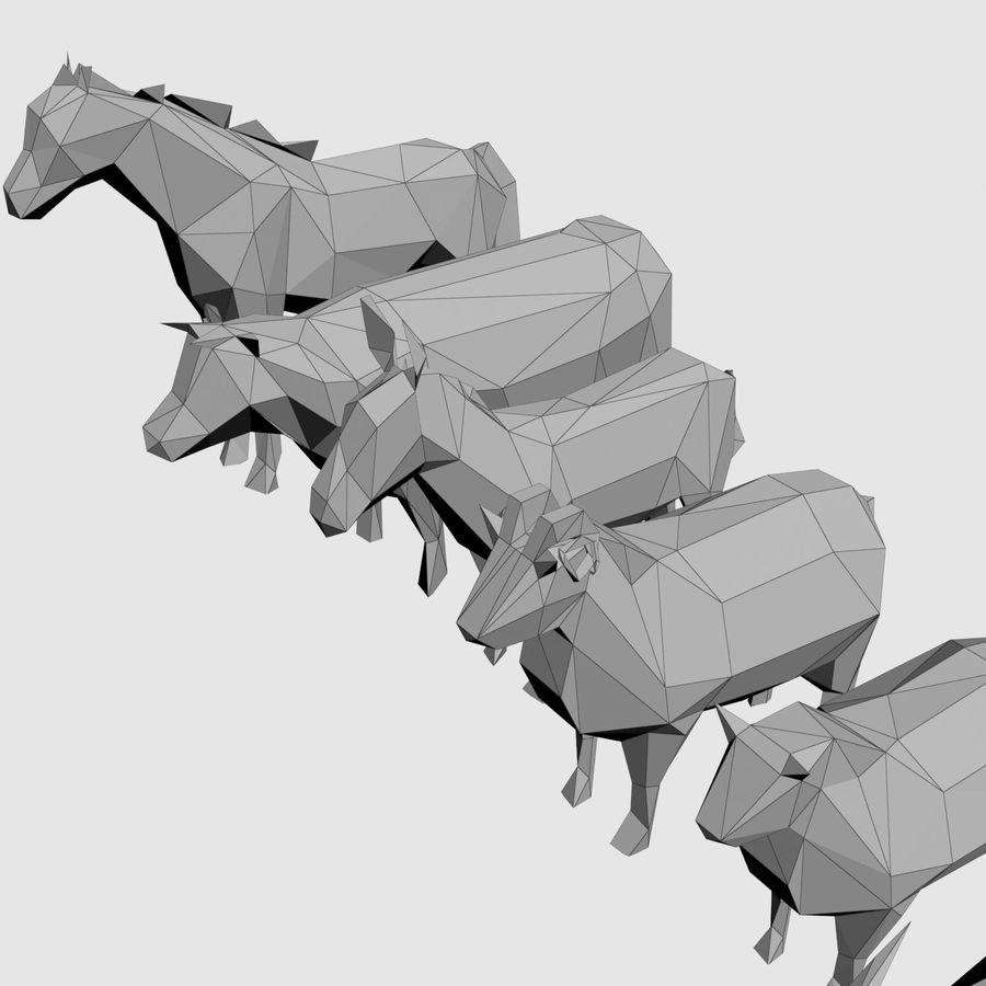 Scatola Con Giocattoli Di Animali In Legno royalty-free 3d model - Preview no. 27