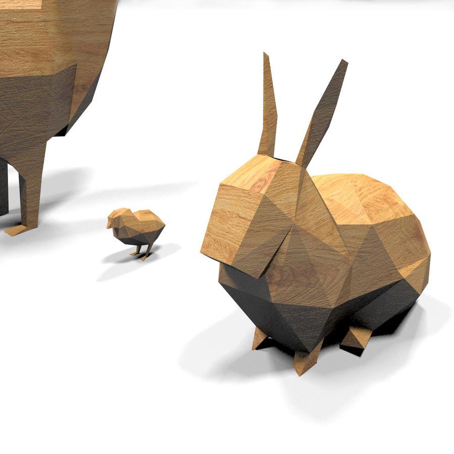 Scatola Con Giocattoli Di Animali In Legno royalty-free 3d model - Preview no. 22