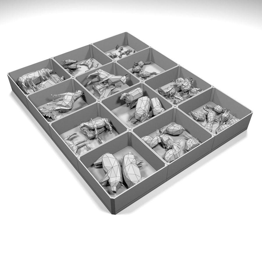Scatola Con Giocattoli Di Animali In Legno royalty-free 3d model - Preview no. 10