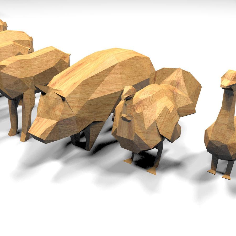 Scatola Con Giocattoli Di Animali In Legno royalty-free 3d model - Preview no. 19