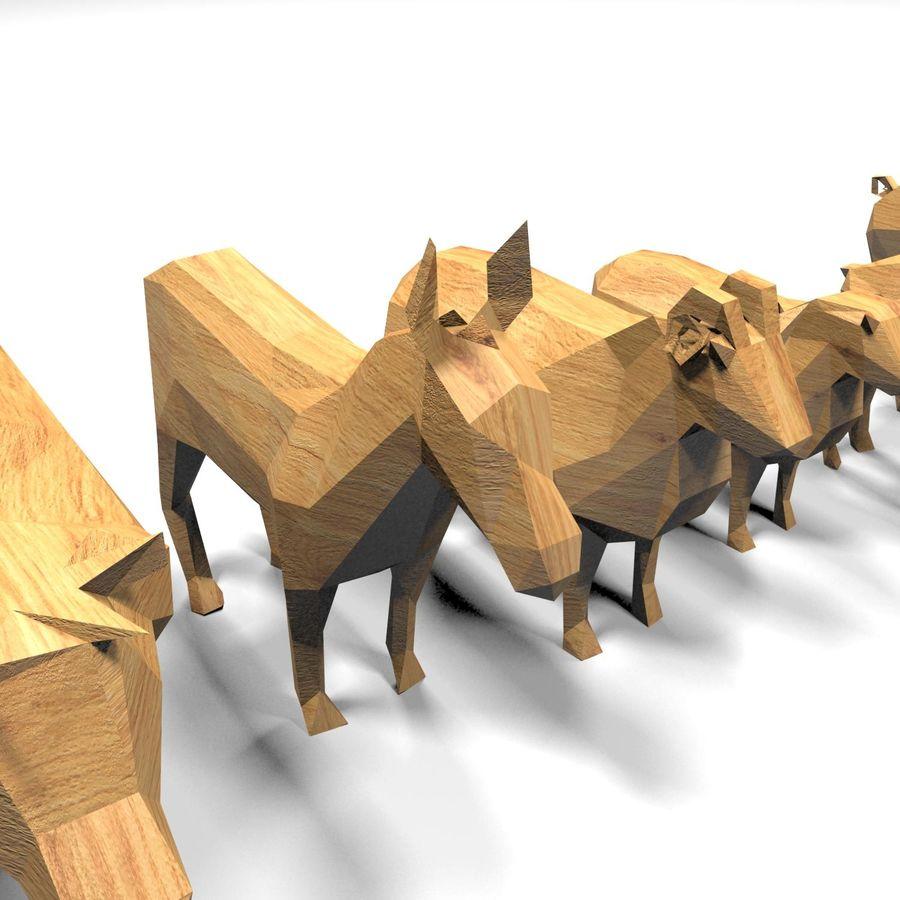 Scatola Con Giocattoli Di Animali In Legno royalty-free 3d model - Preview no. 17