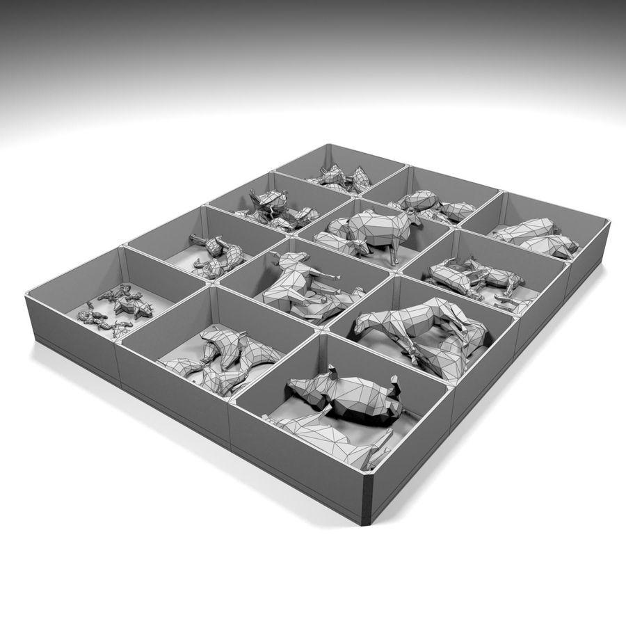 Scatola Con Giocattoli Di Animali In Legno royalty-free 3d model - Preview no. 9