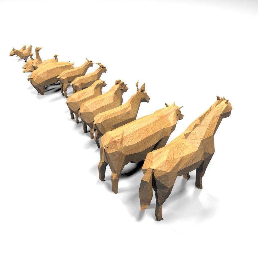 Scatola Con Giocattoli Di Animali In Legno royalty-free 3d model - Preview no. 23