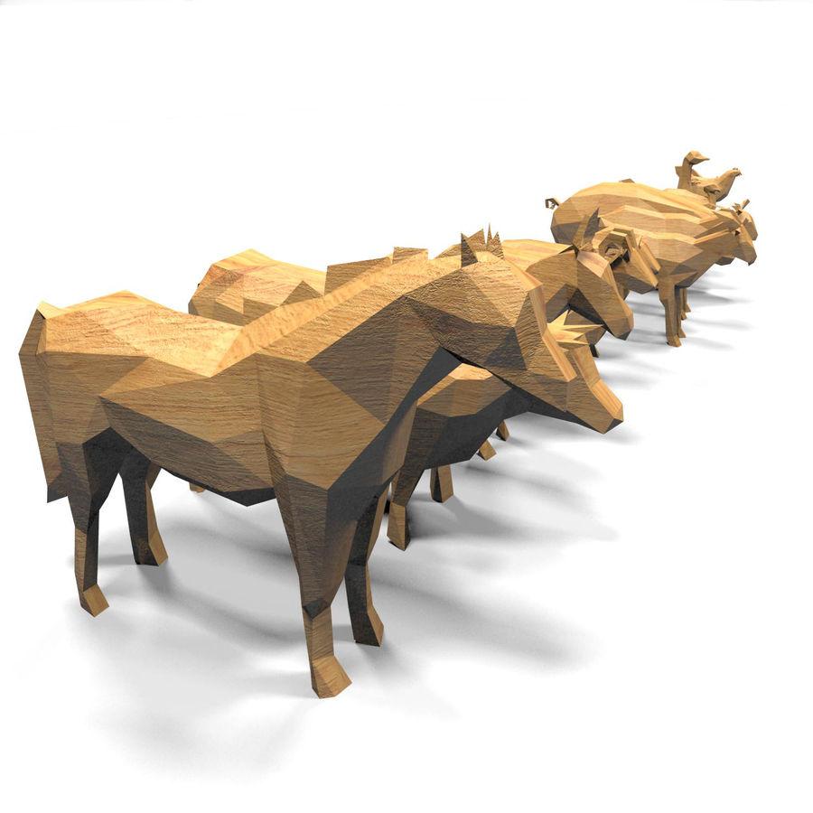 Scatola Con Giocattoli Di Animali In Legno royalty-free 3d model - Preview no. 15