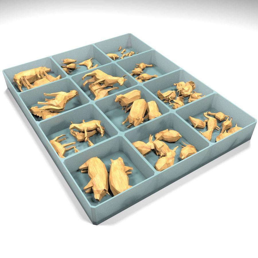 Scatola Con Giocattoli Di Animali In Legno royalty-free 3d model - Preview no. 6