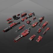 Modulaire onderdelen van ruimteschepen 3d model