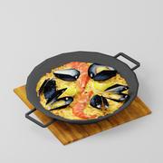 Paella au fruits de mer 3d model
