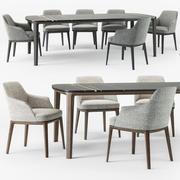Poliform Sophie armchair Henry table set 3d model