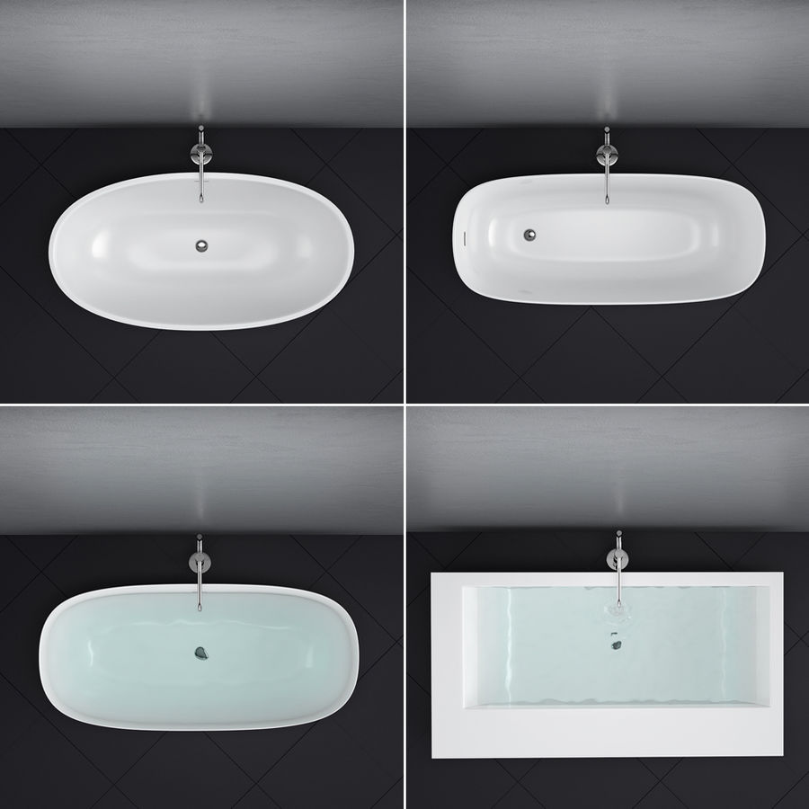 Set of freestanding baths Antoniolupi set 45 (Ago, Biblio, Dafne, Reflexmood) royalty-free 3d model - Preview no. 3