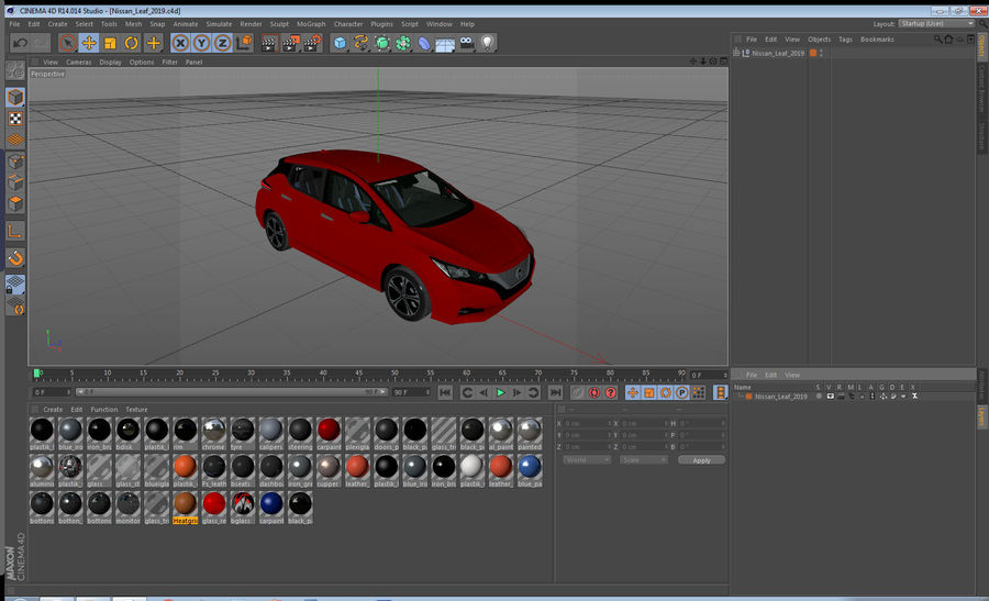 Nissan Leaf 2019 royalty-free modelo 3d - Preview no. 47