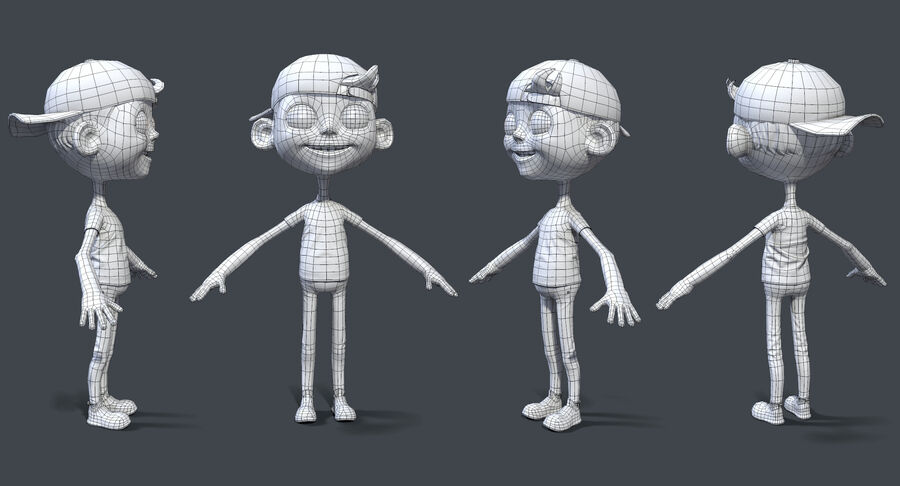 Cartoon Junge und Mädchen royalty-free 3d model - Preview no. 4