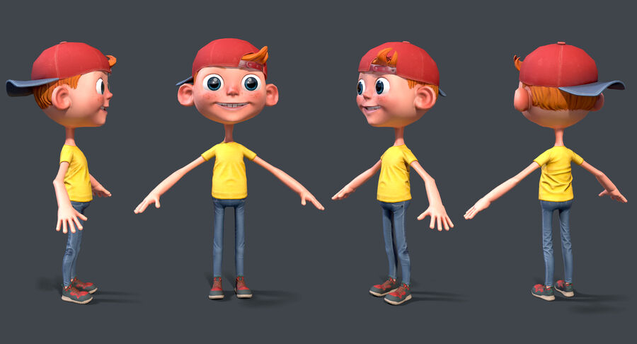 Cartoon Junge und Mädchen royalty-free 3d model - Preview no. 2