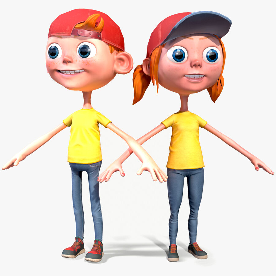 Cartoon Junge und Mädchen royalty-free 3d model - Preview no. 1