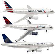 3 Companhias Aéreas (EUA) Airbus A320 3d model