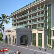 Buitenkant van het hotel 01 3d model