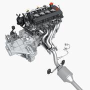 배기가있는 엔진 3d model