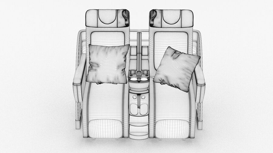 Lufthansa Airplane Seat royalty-free 3d model - Preview no. 12