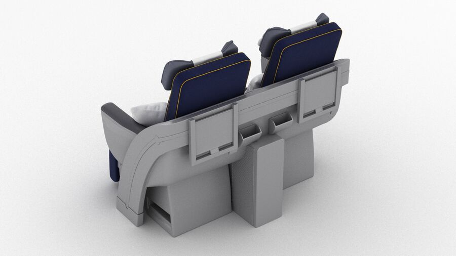 Lufthansa Airplane Seat royalty-free 3d model - Preview no. 6