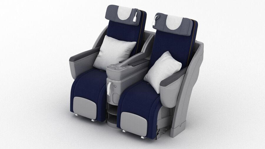 Lufthansa Airplane Seat royalty-free 3d model - Preview no. 2