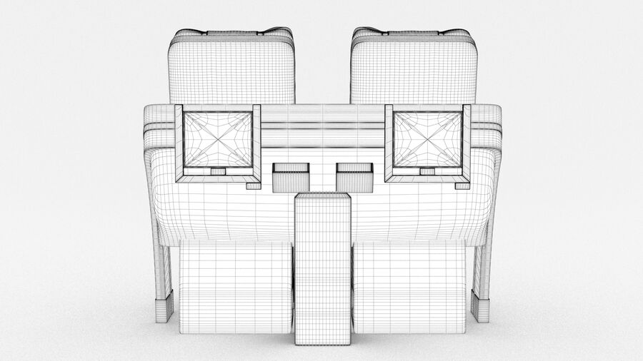 Lufthansa Airplane Seat royalty-free 3d model - Preview no. 18