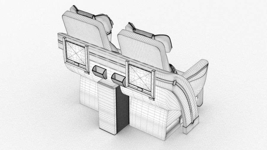 Lufthansa Airplane Seat royalty-free 3d model - Preview no. 14