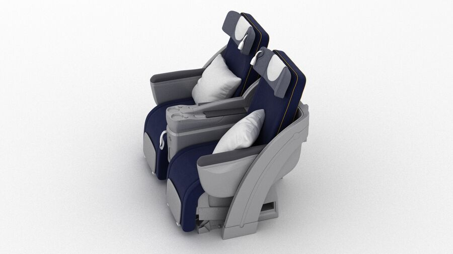 Lufthansa Airplane Seat royalty-free 3d model - Preview no. 7