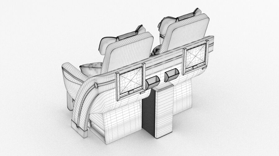 Lufthansa Airplane Seat royalty-free 3d model - Preview no. 15