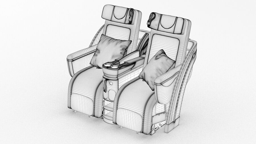 Lufthansa Airplane Seat royalty-free 3d model - Preview no. 11