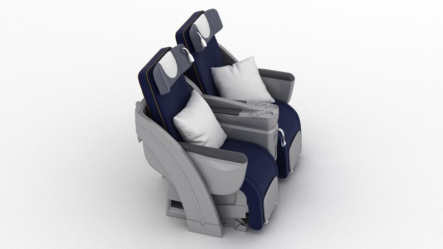 Lufthansa Airplane Seat royalty-free 3d model - Preview no. 4