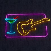 Guitar & Goblet Neon Sign 3d model