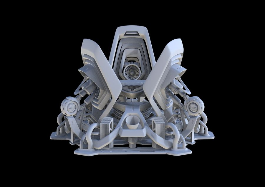 Futuristic Engine royalty-free 3d model - Preview no. 10