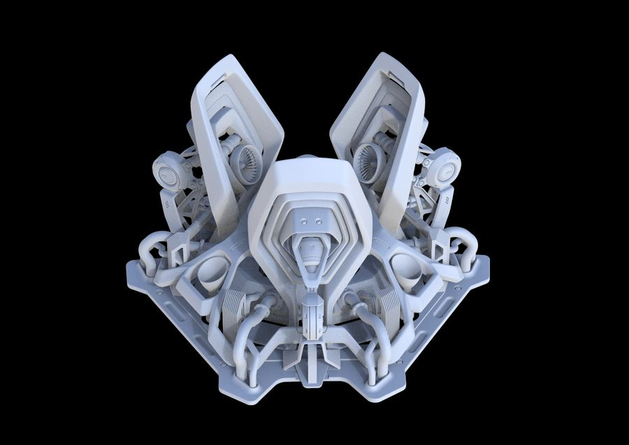 Futuristic Engine royalty-free 3d model - Preview no. 9