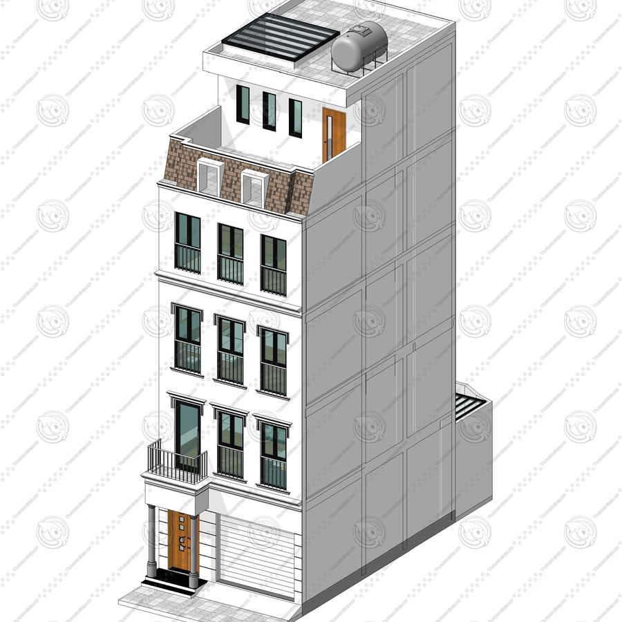Neoclassical Townhouse royalty-free 3d model - Preview no. 1