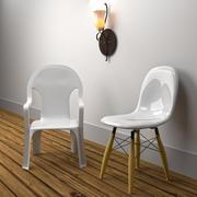 kinkiet i krzesła 3d model