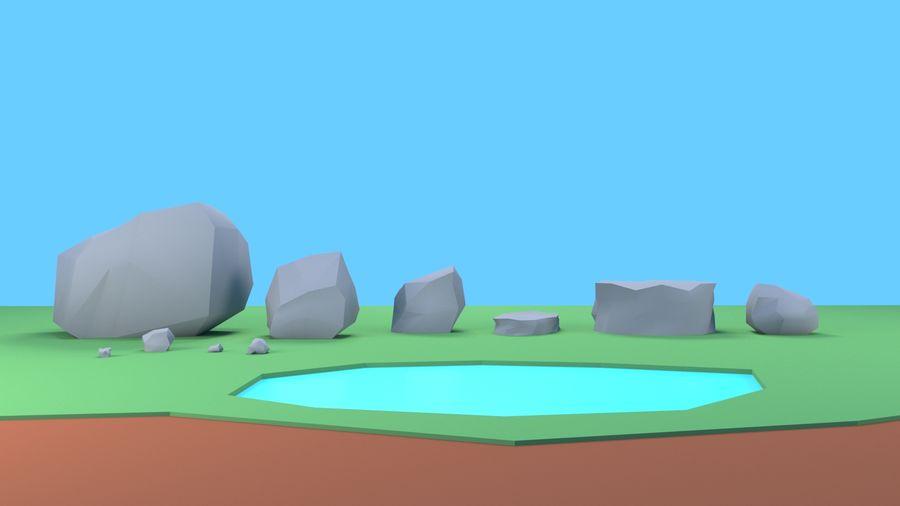 Drzewa Rośliny skały low poly royalty-free 3d model - Preview no. 13